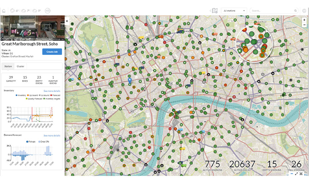 Bike sharing real time application view