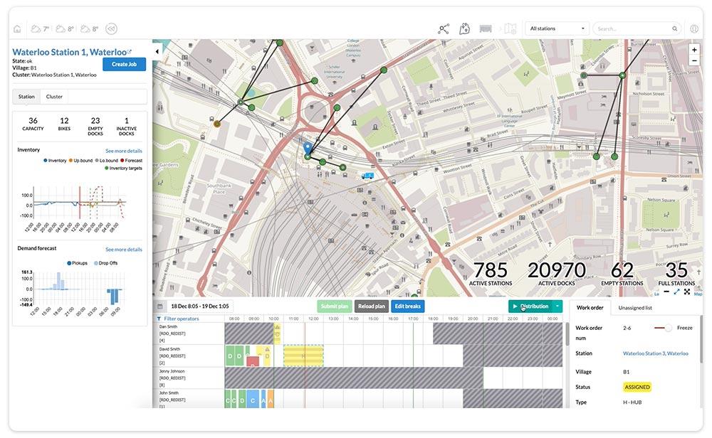 Bike Sharing dashboard station schedule and demand