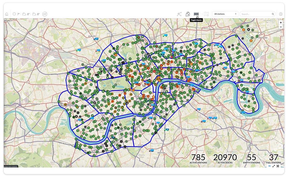 Bike Sharing dashboard station map
